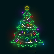 Christmas tree with neon lights