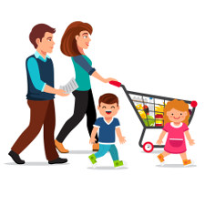 mother and father pushing shopping cart with children