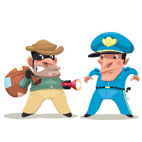 cartoon police officer arresting thief