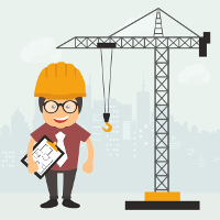 cartoon of construction worker next to crane