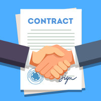 cartoon of two hands shaking over a contract